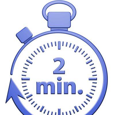 Cronómetro indicando 2' como ejemplo de la regla de los 2' al Capturar