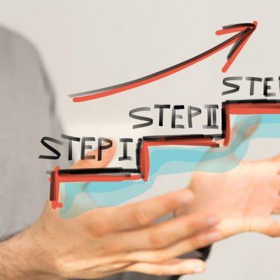 Tres escalones como ejemplo de cómo multiplicar tu efectividad en 3 pasos
