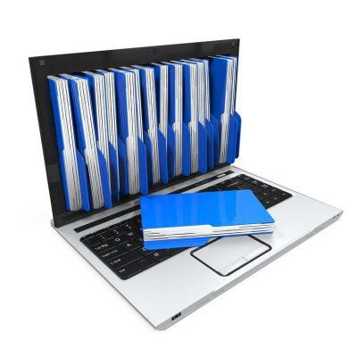 Carpetas saliendo de la pantalla como ejemplo de carpetas de email para material de apoyo