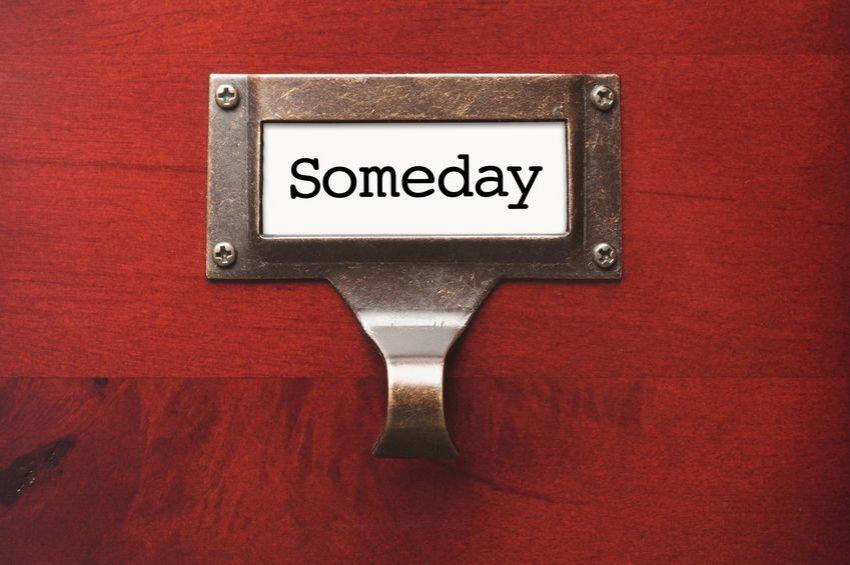 «Someday» en tirador como ejemplo de cada cuánto revisar «Algún día / Tal vez»
