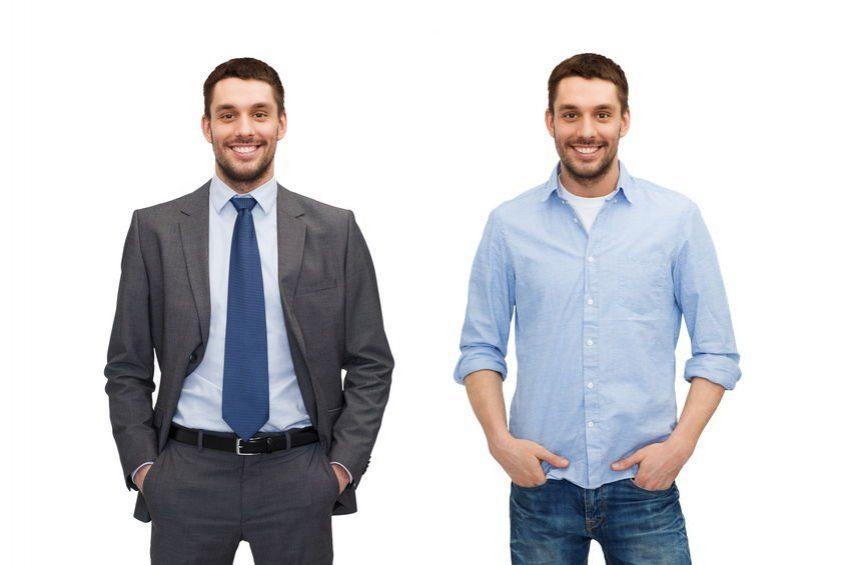 Joven con dos apariencias distintas como ejemplo de diferencia entre material de apoyo y referencia