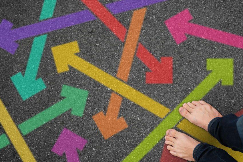 Pies y flechas de colores como ejemplo de qué necesitas para poder priorizar con efectividad