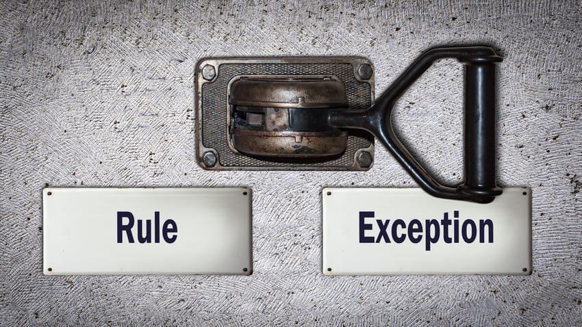 Palanca rule-exception como ejemplo de el arte de gestionar excepciones con efectividad